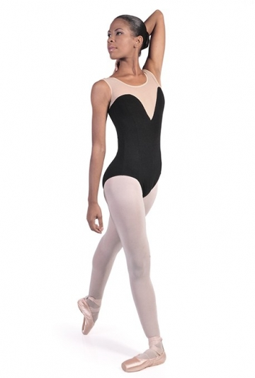 Tank dance leotard with mesh C2819
